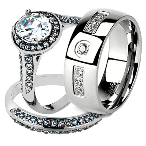 His & Her Stainless Steel 2.60 Ct Cz Bridal Ring Set & Men Zirconia Wedding Band
