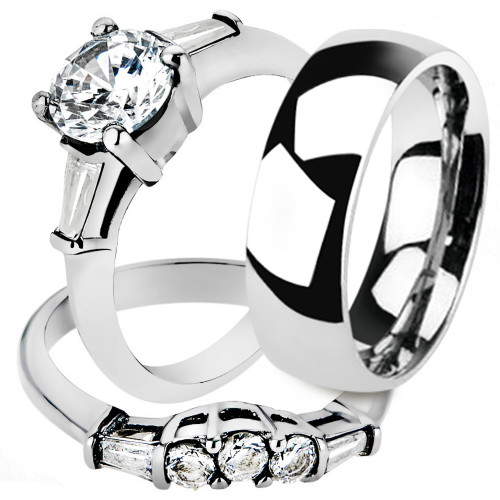 His & Hers 2pc Stainless Steel Women's Bridal Set & Men's Classic Wedding Band