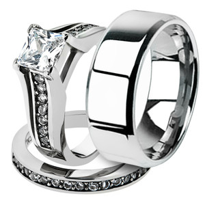 His & Hers Stainless Steel Princess Bridal Ring Set & Beveled Edge Wedding Band