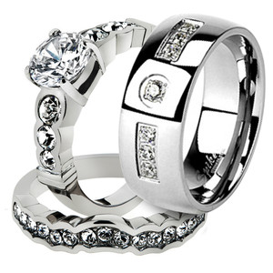 His & Her Stainless Steel 2.35 Ct Cz Bridal Ring Set & Men Zirconia Wedding Band