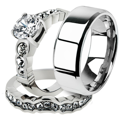 His & Hers 3pc Stainless Steel Bridal Ring Set & Men's Beveled Edge Wedding Band