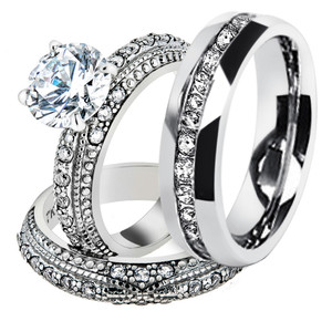 His & Hers 3 Pc Stainless Steel Vintage Bridal Ring Set & Eternity Wedding Band