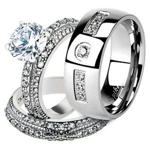 His & Her Stainless Steel 3.25 Ct Cz Bridal Ring Set & Men Zirconia Wedding Band