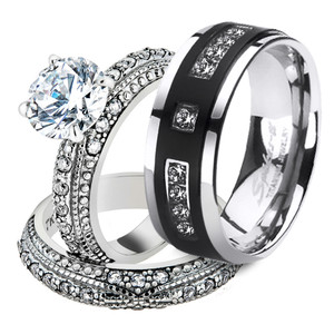 His & Hers Stainless Steel Vintage Bridal Ring Set & Mens Titanium Wedding Band
