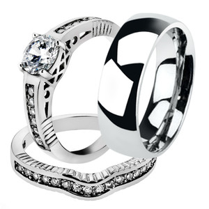 His & Hers 3pc Stainless Steel Bridal Engagement Set & Mens Classic Wedding Band