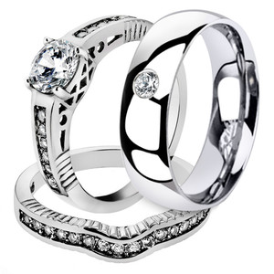 His & Her Stainless Steel Bridal Engagement Ring Set & Men Zirconia Wedding Band