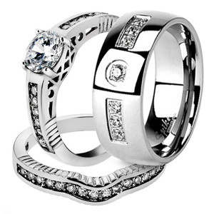 His & Her Stainless Steel 1.75 Ct Cz Bridal Ring Set & Men Zirconia Wedding Band