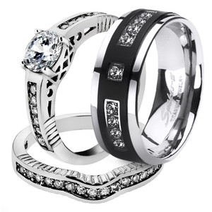 His & Her 3 Piece Stainless Steel Bridal Ring Set & Men's Titanium Wedding Band