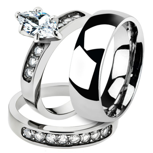 His & Hers 3pc Marquise Cut Cz Stainless Steel Bridal Set & Classic Wedding Band