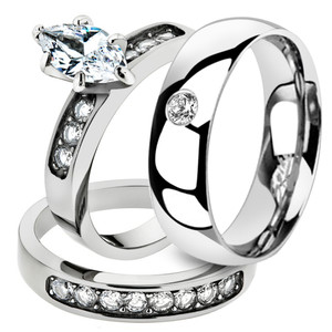 His & Her Marquise Cut Cz Stainless Steel Bridal Set & Men Zirconia Wedding Band