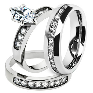 His & Hers Marquise Cz Stainless Steel Bridal Set & Men's Eternity Wedding Band