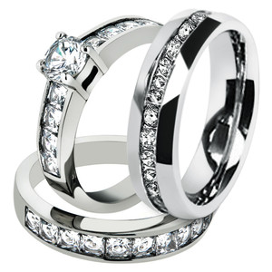 His & Hers 3pc Stainless Steel Engagement Bridal Set & Men Eternity Wedding Band