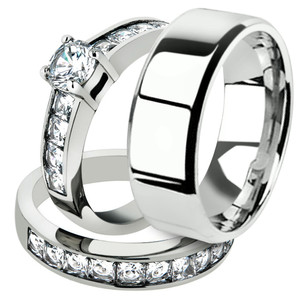 His & Hers Stainless Steel Engagement Bridal Ring Set & Mens Beveled Edge Band