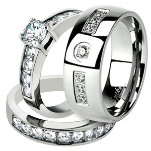 His & Her Stainless Steel 3.25 Ct Cz Bridal Ring Set & Men Zirconia Wedding Band