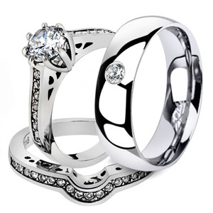 His & Hers 3 Pc Stainless Steel Bridal Ring Set & Men's Zirconia Wedding Band