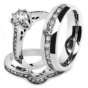 His & Her 3Pc Stainless Steel Engagement Bridal Ring Set & Eternity Wedding Band