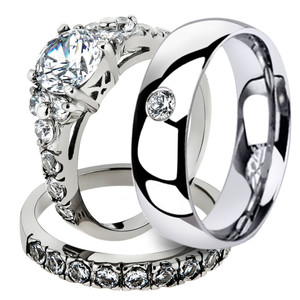 His & Her 3 Pc Stainless Steel Engagement Bridal Set & Men Zirconia Wedding Band