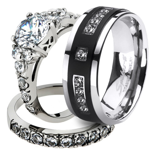 His & Her 3pc Round Cz Stainless Steel Bridal Set & Men's Titanium Wedding Band