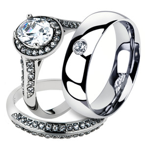 Hers and His Stainless Steel Halo Bridal Ring Set & Men's Zirconia Wedding Band