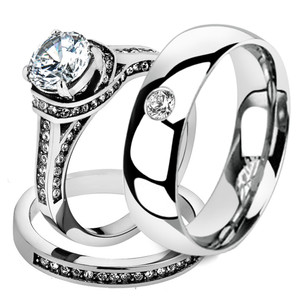 His & Her 3 Pc Stainless Steel 2.75 Ct Cz Bridal Set & Men Zirconia Wedding Band