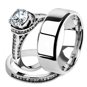 His & Her 3pc Stainless Steel 2.75 Ct Cz Bridal Ring Set & Men Beveled Edge Band