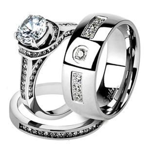 His & Her 3pc Stainless Steel 2.75 Ct Cz Bridal Set & Men Zirconia Wedding Band