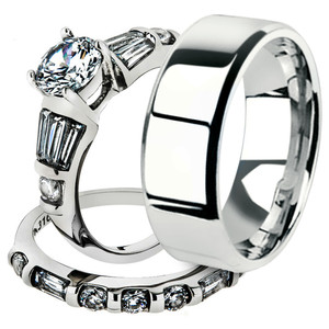 His & Her 3pc Stainless Steel 2.50 Ct Cz Bridal Ring Set & Men Beveled Edge Band