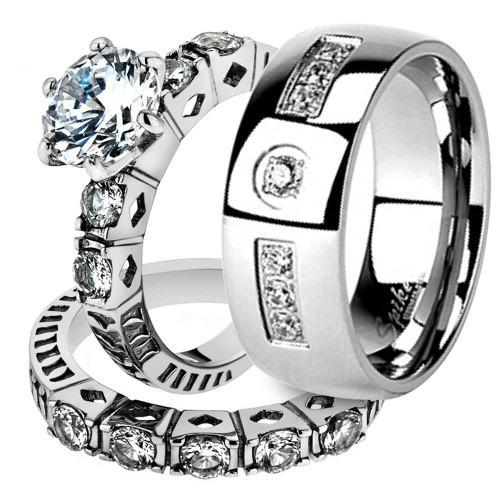 His & Her Stainless Steel 3.10 Ct Cz Bridal Ring Set & Men Zirconia Wedding Band