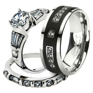 His & Her Stainless Steel 2.50 Ct Cz Bridal Set & Men's Titanium Wedding Band