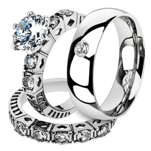 His & Her 3 Pc Stainless Steel 3.10 Ct Cz Bridal Set & Men Zirconia Wedding Band