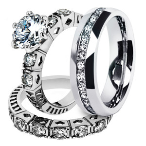 His & Hers Stainless Steel 3.10 Ct Cz Bridal Set & Men's Eternity Wedding Band