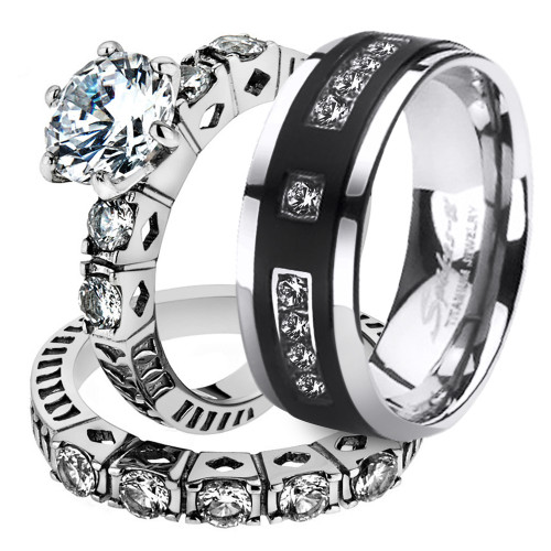 His & Her 3pc Stainless Steel 3.10 Ct Cz Bridal Set & Mens Titanium Wedding Band