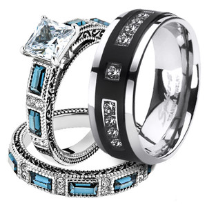 His & Her 3pc Stainless Steel 2.60 Ct Cz Bridal Set & Mens Titanium Wedding Band
