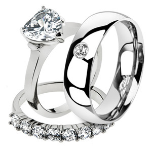 His & Her 3 Pc Stainless Steel 2.70 Ct Cz Bridal Set & Men Zirconia Wedding Band