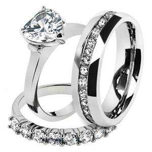 His & Hers Stainless Steel 2.70 Ct Cz Bridal Set & Men's Eternity Wedding Band