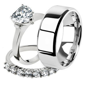 His & Her 3pc Stainless Steel 2.70 Ct Cz Bridal Ring Set & Men Beveled Edge Band