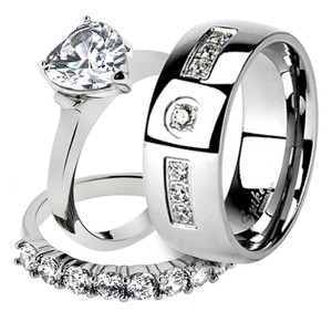 His & Her Stainless Steel 2.70 Ct Cz Bridal Ring Set & Men Zirconia Wedding Band
