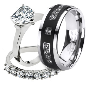 His & Her 3pc Stainless Steel 2.70 Ct Cz Bridal Set & Mens Titanium Wedding Band