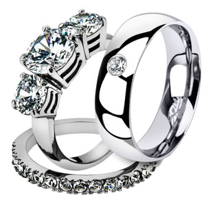 His & Her 3 Pc Stainless Steel 4.17 Ct Cz Bridal Set & Men Zirconia Wedding Band