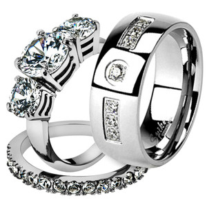His & Her Stainless Steel 4.17 Ct Cz Bridal Ring Set & Men Zirconia Wedding Band