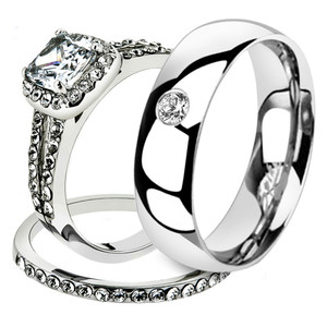 His & Her 3 Pc Stainless Steel 1.80 Ct Cz Bridal Set & Men Zirconia Wedding Band