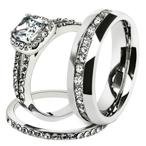 His & Hers Stainless Steel 1.80 Ct Cz Bridal Set & Men's Eternity Wedding Band