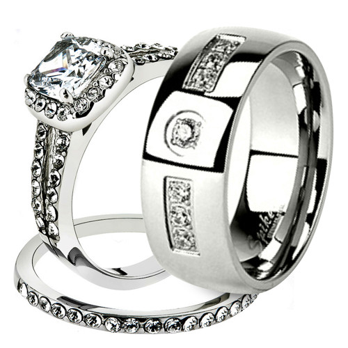 His & Her Stainless Steel 1.80 Ct Cz Bridal Ring Set & Men Zirconia Wedding Band