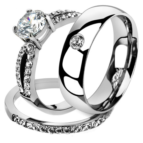 His & Her 3 Pc Stainless Steel 1.25 Ct Cz Bridal Set & Men Zirconia Wedding Band