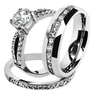 His & Hers Stainless Steel 1.25 Ct Cz Bridal Set & Men's Eternity Wedding Band