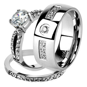 His & Her Stainless Steel 1.25 Ct Cz Bridal Ring Set & Men Zirconia Wedding Band