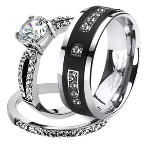 His & Her 3pc Stainless Steel 1.25 Ct Cz Bridal Set & Mens Titanium Wedding Band