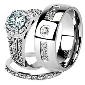 His & Her Stainless Steel 2.45 Ct Cz Bridal Ring Set & Men Zirconia Wedding Band