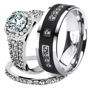 His & Her 3pc Stainless Steel 2.45 Ct Cz Bridal Set & Mens Titanium Wedding Band