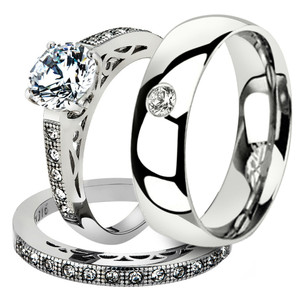 His & Her 3 Pc Stainless Steel 1.39 Ct Cz Bridal Set & Men Zirconia Wedding Band